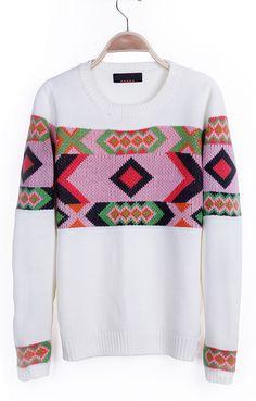 Beige Geometric Tribal Pattern Round Neck Pullover Sweater