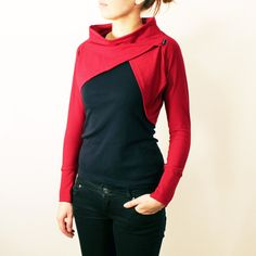 Womens Dark Red Cotton Jersey Long Sleeve Shrug Bolero with Boat Neck - available in more colors. via Etsy. Unique Outfits, Cool Outfits, Casual Outfits, Shrugs And Boleros, Gilet Long, Fashion Corner, Dance Outfits, Look Cool, Refashion