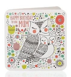 Owl Happy Birthday Mum Card
