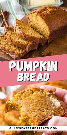 This is the best pumpkin bread ever! Tender, moist and delicious and loaded with warm spices. It's just like your Mom used to make! It's a classic recipe will make two loaves to snack on all fall. Enjoy one loaf now and learn how to freeze the second loaf to enjoy later. #pumpkin #bread Easy Bread Recipes, Gourmet Recipes, Baking Recipes, Dessert Recipes, Crockpot Recipes, Chicken Recipes, Easy Canned Pumpkin Recipes, Soup Recipes, Vegetarian Recipes