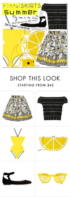 """No 431:Floral Skirt"" by lovepastel ❤ liked on Polyvore featuring Alice + Olivia, Alexander McQueen, Anja, Jessica McClintock, Moschino, Gianvito Rossi, Sunpocket and Floralskirts"