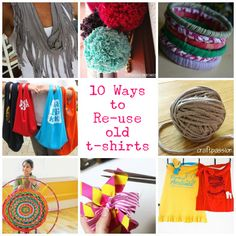 (What to do with the t-shirts from 5 a day for 5 days) 10 Ways to Re-use Old T-Shirts via Hey Look At Me