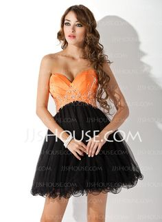 Homecoming+Dresses+-+$122.99+-+Empire+Sweetheart+Short/Mini+Satin+Tulle+Homecoming+Dress+With+Ruffle+Beading+Sequins+(022009037)+http://jjshouse.com/Empire-Sweetheart-Short-Mini-Satin-Tulle-Homecoming-Dress-With-Ruffle-Beading-Sequins-022009037-g9037