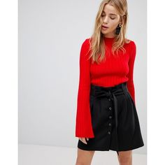 Nobody's Child Jumper In Skinny Rib (255 DKK) ❤ liked on Polyvore featuring tops, sweaters, red, bell sleeve crop top, bell sleeve sweater, high neck crop top, bell sleeve tops and print sweater