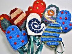 fb000165b1 Tutorial  Felted Mitten Ornaments  felting  ornaments  christmas  holiday   mitten