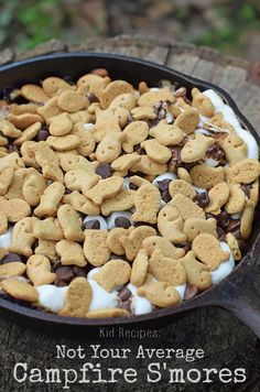 Some nights are just made for a good campfire. Make campfire s'mores with Goldfish Grahams, chocolate chips, and marshmallows layered in an iron skillet. Fun for kids and another one to add to your list of kid recipes!
