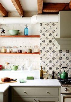 Patterned tile brick open shelving cabinet colors