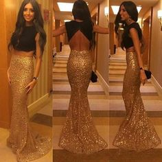 Cheap black prom dress, Buy Quality prom dress formal directly from China prom dresses Suppliers: Long Two Pieces Mermaid Style Evening Dress Sequins Gold And Black Prom Dresses Formal Party Backless vestidos de gala