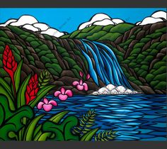 Iconic surf artist Heather Brown takes us into a Hawaiian mountain side with tropical flowers and the beautiful Waimea Falls. Canvas Art Prints, Hawaiian Art, Heather Brown Art, Brown Artwork, Beach Artist, Brown Painting, Hawaii Art, Surf Art, Ocean Art