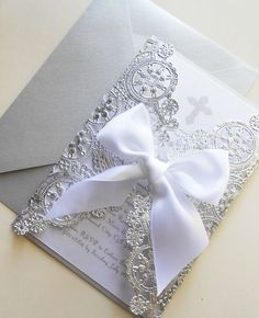 Custom Laser Cut White And Silver by YesUMaystationery on Etsy