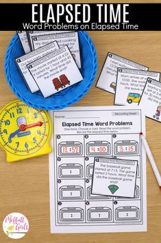 Grade Math: Time to the Minute and Elapsed Time Hands On Activities, Math Activities, Math Games, Math Math, Multiplication, Fractions, Maths, 7th Grade Math, Third Grade