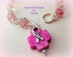 Bracelet  Breast Cancer Awareness  Single by SacredStrandsbyCarol, $25.00