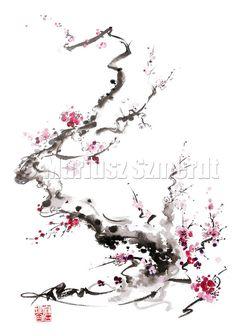 CHERRY Blossom Sakura Pink Cream Flowers Bloom by Asianature, $30.00