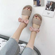 eda439d68 Bow checkered wooden platform flat summer sandals. Korean ...