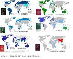 China, HongKong(SAR), HongKong(UK), Singapore, Taiwan, Macau, passport, visa free situation