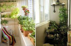 Cooler kleiner Balkon – 40 kreative und praktische Ideen - terrasse balkon winzig kompakt idee pflanzen blumentopg sonnenlicht