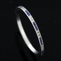 FINAL SALE 20% off Platinum Art Deco Style Diamond and Sapphire Band | OroSpot - Jewelry on ArtFire