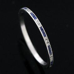 FINAL SALE 20% off Platinum Art Deco Style Diamond and Sapphire Band   OroSpot - Jewelry on ArtFire