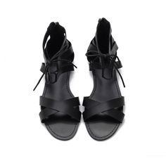 Yoins Black Leather Look Cross Strap Zipper Back Lace-up Sandals ($28) ❤ liked on Polyvore featuring shoes, sandals, yoins, zipper back sandals, black laced shoes, back zip sandals, tassel sandals and vintage style shoes