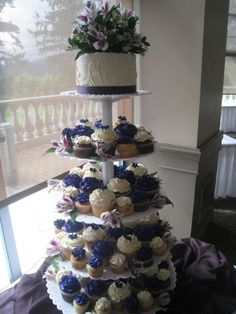 Perfectly purple wedding cupcake display :-)