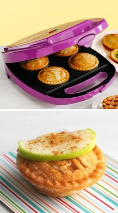Mini Pie Maker // Bakes 10 to 15 minutes. Non-stick coating makes baking fruit pies, pot pies & quiches quick & easy. - foodiedelicious.com #dessert #pie