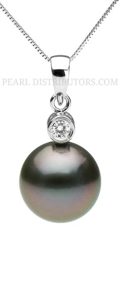 Beautiful Tahitian pearl pendant with one diamond