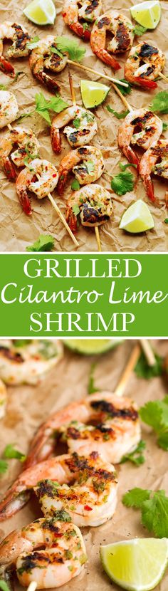 Grilled Cilantro + Lime Shrimp Skewers that are perfect for grilling this summer! Easy to make and less than 10 ingredients! #shrimpkabobs #shrimpskewers #grilledshrimp | Littlespicejar.com