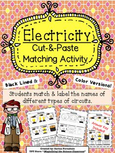 Electricity Cut and Paste Matching Activity - Good for ELLs                                                                                                                                                                                 More