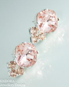 blush pink earrings | blush pink and peach crystal earrings | blush pink wedding | pink and peach wedding | www.endorajewellery.etsy.com