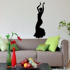 Girl Dancing Silhouette Flamenco Wall Vinyl Decal Stylish Sticker Housewares Art Design Murals Interior Decor Home Dance Studio SV5111