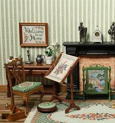 Dollhouse room showing several needlepoint items