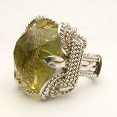 Wire Wrapped Lemon Citrine Stirling Silver Ring by JandSGems,