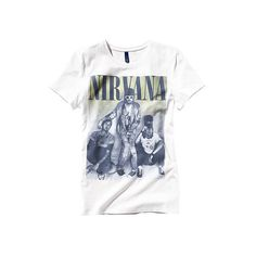 H&M Nirvana T-Shirt found on Polyvore featuring polyvore, women's fashion, clothing, tops, t-shirts, shirts, band tees, tee-shirt, h&m shirts and h&m tops