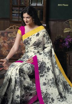 Divine white bhagalpuri saree having beautiful  prints of flowers & look elegant with its border patta & blouse piece