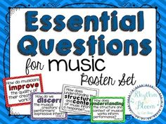 This essential question poster set includes 20 posters listing the essential questions from the new 2014 Core Standards for Music Education.  They are a great way to display critical thinking questions for your students and yourself.  You can also view & download the direct text of these essential questions online at the NCAS website.