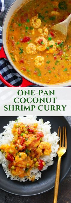 One-Pan Coconut Shrimp Curry - It's time to enjoy comforting food with this easy and quick to make One-pan Coconut Shrimp Curry. It's made with onions, tomatoes, coconut milk, curry and shrimp and it's ready in less than 20 minutes. Gluten-free