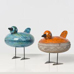 Aldo Londi; Glazed Ceramic and Enameled Metal Figures by Bitossi for Raymor, c1960.