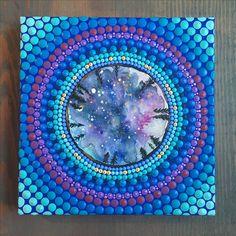 Star gazing galaxy Mandala Dot Painting. Dot Art. Dotillism. Hand painted Mandala painting.