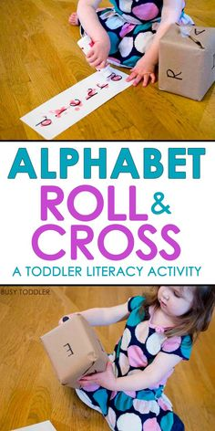 Simple DIY Alphabet Game: This Alphabet Roll & Cross looks like so much fun! What an easy ABC activity for toddlers! This is a great way for toddlers and preschoolers to learn the alphabet!