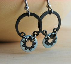 Hey, I found this really awesome Etsy listing at https://www.etsy.com/listing/177300043/dangle-earring-hoops-black-metal
