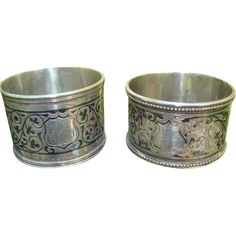 Two Russian silver Napkin rings with rich Niello decoration from chateau on Ruby Lane