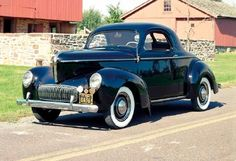 Justin's car, though in bright blue. Info: 1941 Willys Americar coupe, part of the 1941-1942 Willys Americar line of collectible cars.