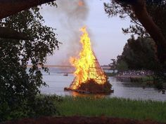 Midsummer bonfire in Seurasaari. Bonfires are very common in Finland, where many people spend their midsummer in the countryside outside towns.
