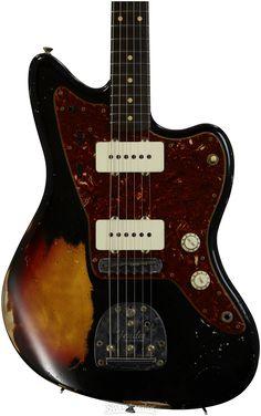 Fender Jazzmaster worn black/sunburst