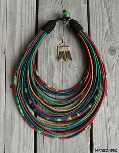 POLISH FOLK-inspired yarn-wrapped necklace / tribal / hippie / bohemian / folk / colorful / rope