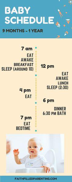 Baby sleep schedule 9 months - 1 year More