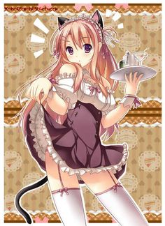 ✮ Anime ✮ maid. . .lifting skirt. . .thigh highs. . .platter. . .cute. . .kawaii