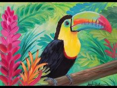 Rainbow TOUCAN Painting Step by Step Acrylic JUNGLE Tutorial #EarthDay #Angelooney Angela Anderson