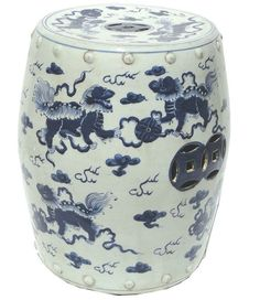 Blue White Porcelain Garden Stool Fish Motif Ceramic