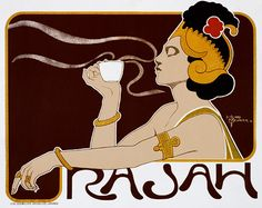 Cafe Rajah, 1897 - Vintage Food & Drink Poster - Poster Paper, Sticker or Canvas by WallArty on Etsy https://www.etsy.com/listing/196255148/cafe-rajah-1897-vintage-food-drink